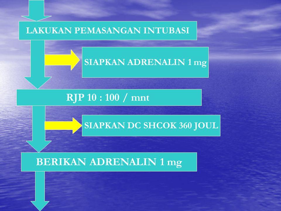 LAKUKAN PEMASANGAN INTUBASI RJP 10 : 100 / mnt SIAPKAN ADRENALIN 1 mg BERIKAN ADRENALIN 1 mg SIAPKAN DC SHCOK 360 JOUL