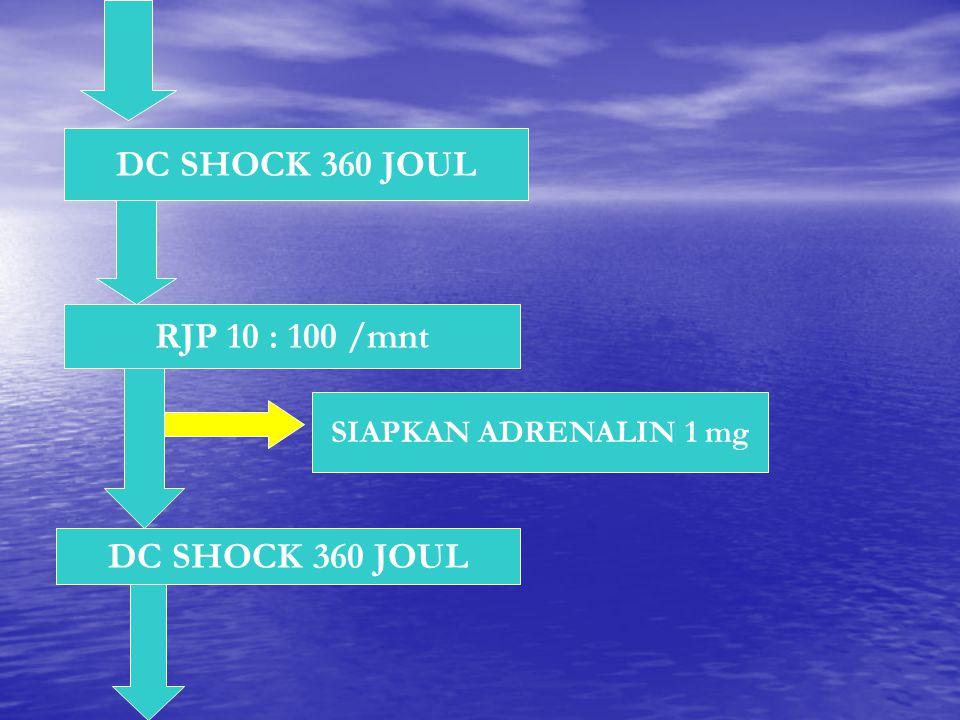 DC SHOCK 360 JOUL RJP 10 : 100 /mnt DC SHOCK 360 JOUL SIAPKAN ADRENALIN 1 mg
