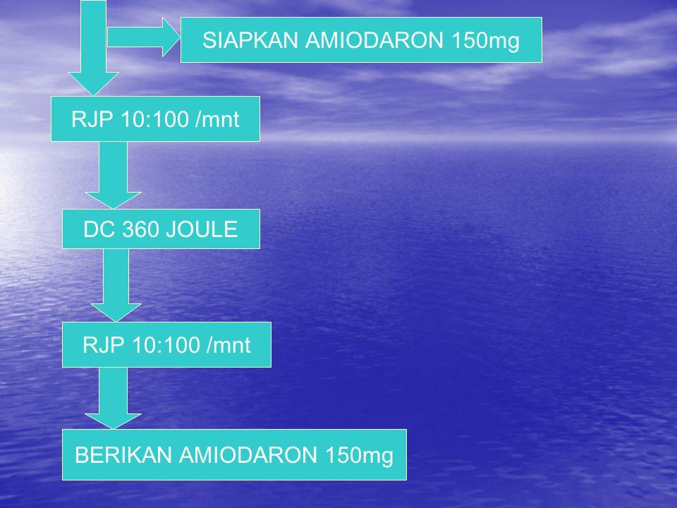 RJP 10:100 /mnt SIAPKAN AMIODARON 150mg DC 360 JOULE BERIKAN AMIODARON 150mg RJP 10:100 /mnt