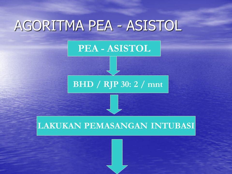 AGORITMA PEA - ASISTOL PEA - ASISTOL BHD / RJP 30: 2 / mnt LAKUKAN PEMASANGAN INTUBASI
