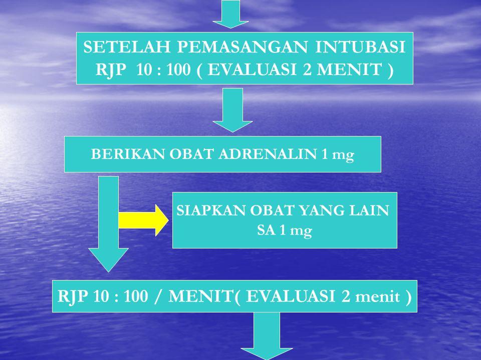 SETELAH PEMASANGAN INTUBASI RJP 10 : 100 ( EVALUASI 2 MENIT ) BERIKAN OBAT ADRENALIN 1 mg RJP 10 : 100 / MENIT( EVALUASI 2 menit ) SIAPKAN OBAT YANG L
