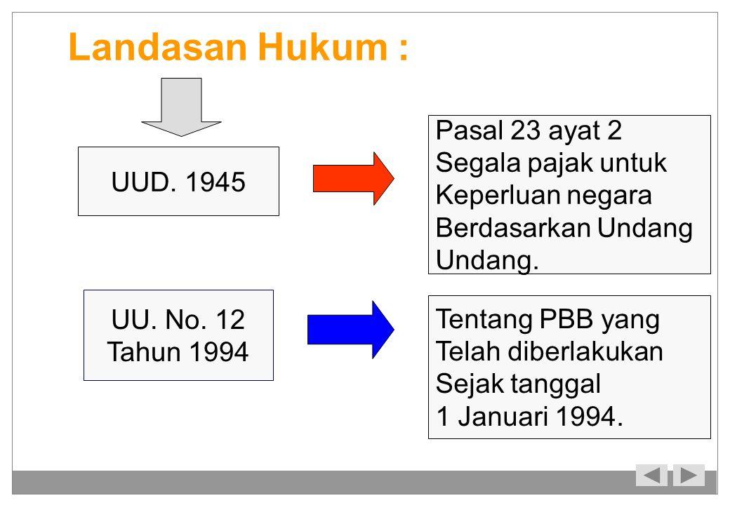 Landasan Hukum : UUD. 1945 Pasal 23 ayat 2 Segala pajak untuk Keperluan negara Berdasarkan Undang Undang. UU. No. 12 Tahun 1994 Tentang PBB yang Telah