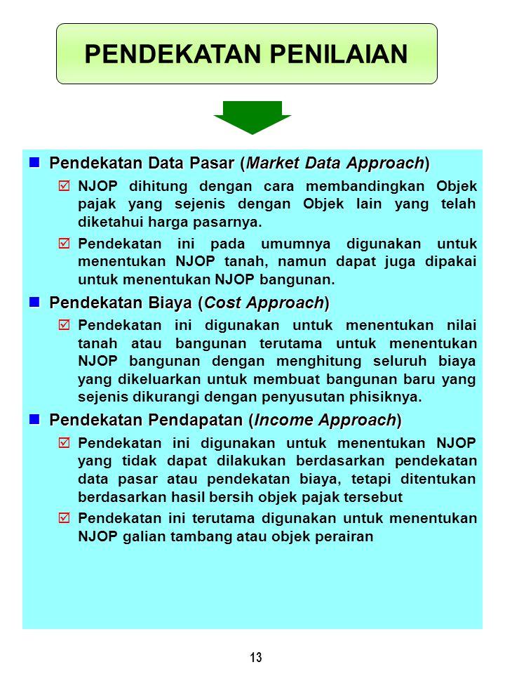 13 Pendekatan Data Pasar (Market Data Approach) Pendekatan Data Pasar (Market Data Approach)  NJOP dihitung dengan cara membandingkan Objek pajak yan