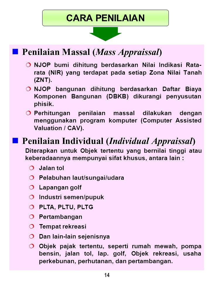 14 Penilaian Massal (Mass Appraissal) Penilaian Massal (Mass Appraissal)  NJOP bumi dihitung berdasarkan Nilai Indikasi Rata- rata (NIR) yang terdapa