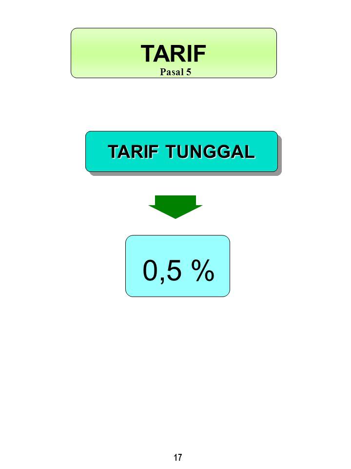 17 TARIF TUNGGAL TARIF Pasal 5 0,5 %