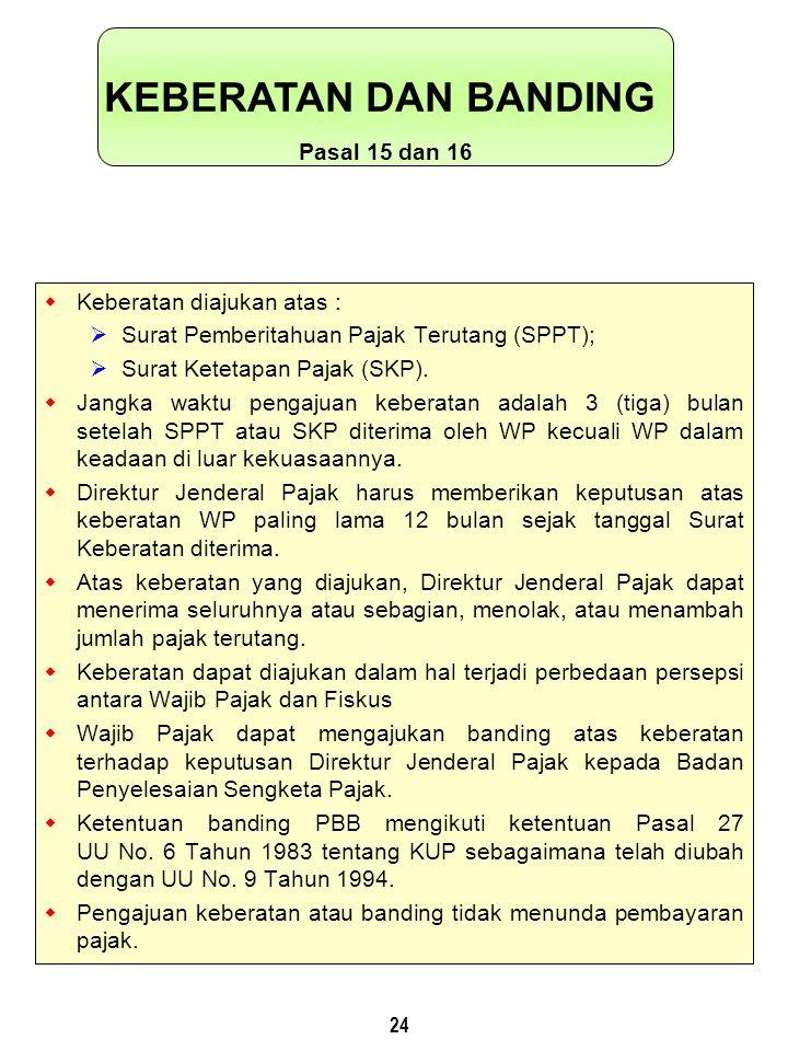 24  Keberatan diajukan atas :  Surat Pemberitahuan Pajak Terutang (SPPT);  Surat Ketetapan Pajak (SKP).
