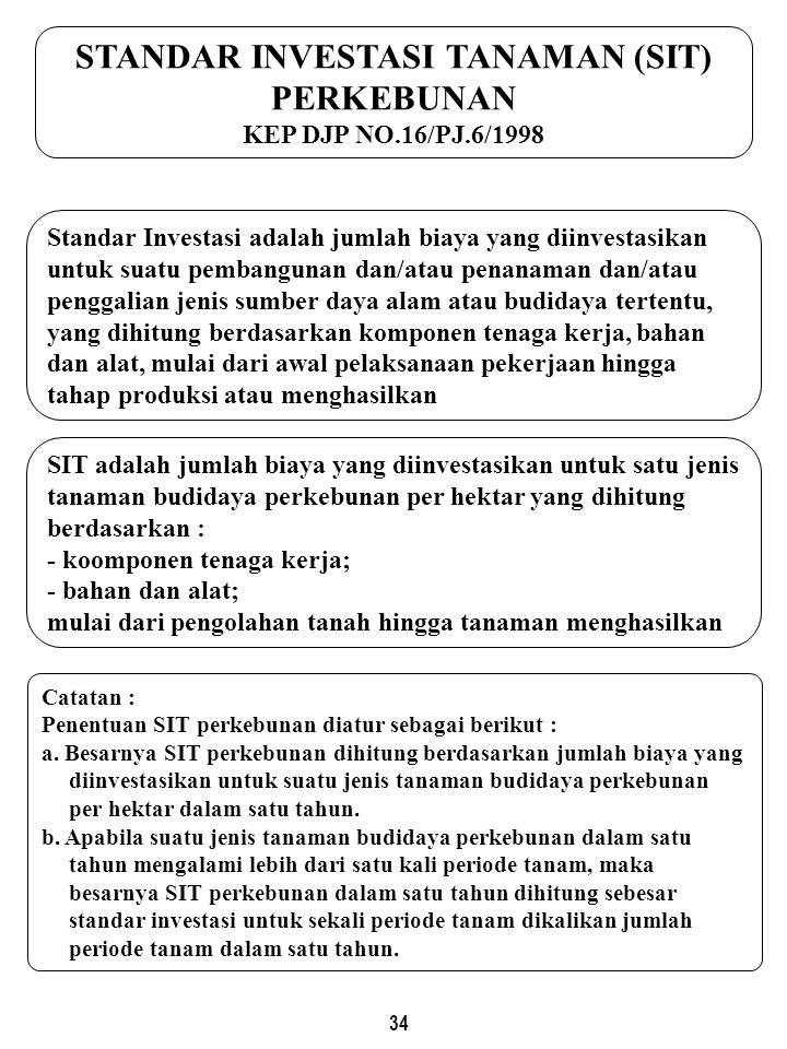 34 STANDAR INVESTASI TANAMAN (SIT) PERKEBUNAN KEP DJP NO.16/PJ.6/1998 SIT adalah jumlah biaya yang diinvestasikan untuk satu jenis tanaman budidaya perkebunan per hektar yang dihitung berdasarkan : - koomponen tenaga kerja; - bahan dan alat; mulai dari pengolahan tanah hingga tanaman menghasilkan Catatan : Penentuan SIT perkebunan diatur sebagai berikut : a.