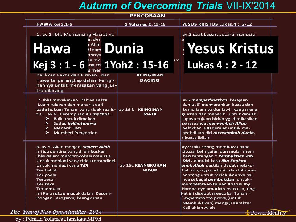 The Year of New Opportunities 2014 Power Identity by : Pdm.Ir.Yohanes Hanakata MPM Autumn of Overcoming Trials Autumn of Overcoming Trials VII-IX'2014 PENCOBAAN HAWA Kej 3:1-6 1 Yohanes 2 :15-16 YESUS KRISTUS Lukas.4 : 2-12 1.
