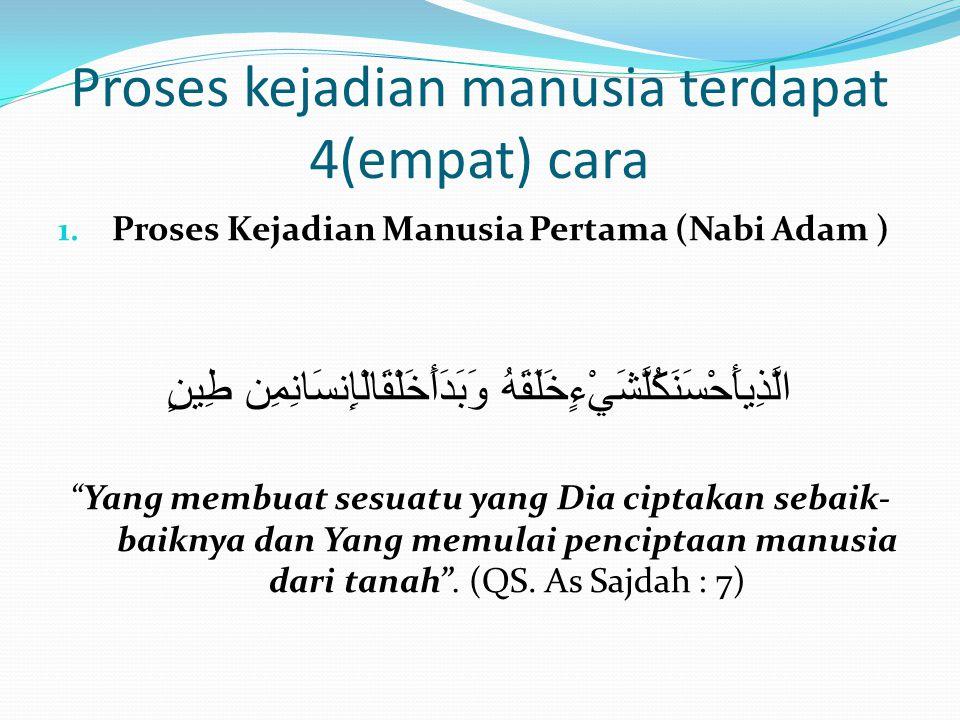 Proses kejadian manusia terdapat 4(empat) cara 1. Proses Kejadian Manusia Pertama (Nabi Adam ) الَّذِيأَحْسَنَكُلَّشَيْءٍخَلَقَهُ وَبَدَأَخَلْقَالْإِن