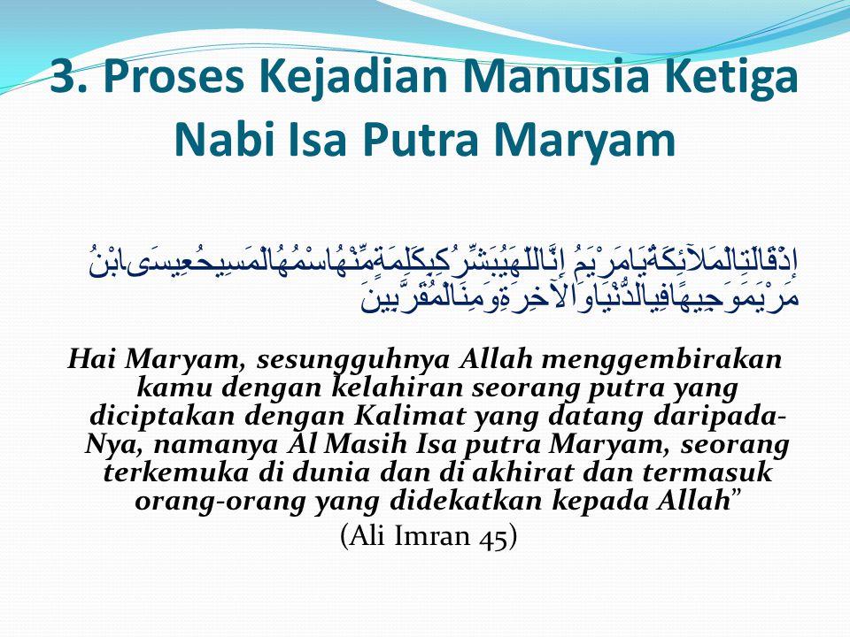 3. Proses Kejadian Manusia Ketiga Nabi Isa Putra Maryam إذْقَالَتِالْمَلآئِكَةُيَامَرْيَمُ إِنَّاللّهَيُبَشِّرُكِبِكَلِمَةٍمِّنْهُاسْمُهُالْمَسِيحُعِي
