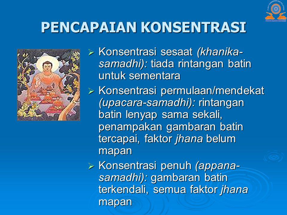 PENCAPAIAN KONSENTRASI  Konsentrasi sesaat (khanika- samadhi): tiada rintangan batin untuk sementara  Konsentrasi permulaan/mendekat (upacara-samadh