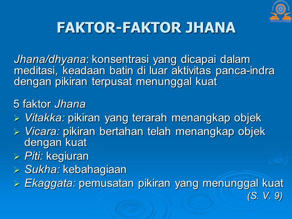 FAKTOR-FAKTOR JHANA 5 faktor Jhana  Vitakka: pikiran yang terarah menangkap objek  Vicara: pikiran bertahan telah menangkap objek dengan kuat  Piti
