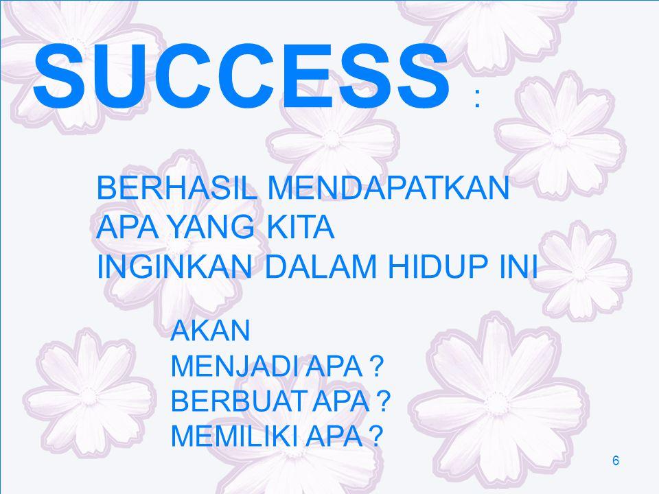 6 SUCCESS : BERHASIL MENDAPATKAN APA YANG KITA INGINKAN DALAM HIDUP INI AKAN MENJADI APA ? BERBUAT APA ? MEMILIKI APA ?