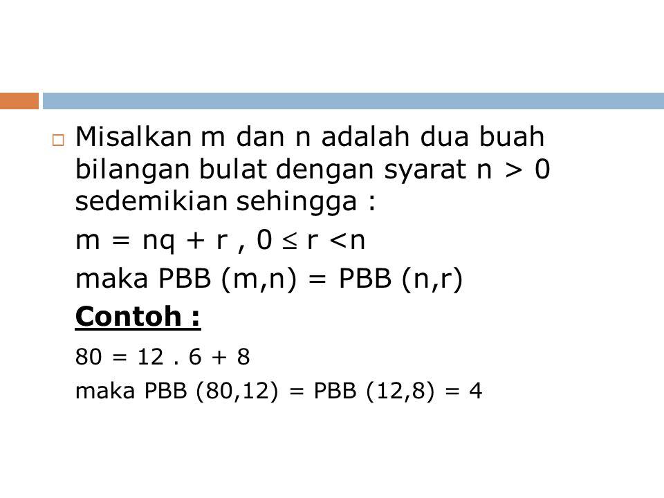  Misalkan m dan n adalah dua buah bilangan bulat dengan syarat n > 0 sedemikian sehingga : m = nq + r, 0  r <n maka PBB (m,n) = PBB (n,r) Contoh : 80 = 12.