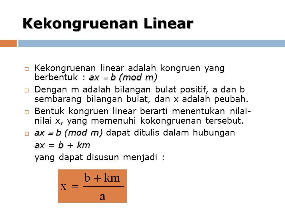 Kekongruenan Linear ax  b (mod m)  Kekongruenan linear adalah kongruen yang berbentuk : ax  b (mod m)  Dengan m adalah bilangan bulat positif, a dan b sembarang bilangan bulat, dan x adalah peubah.