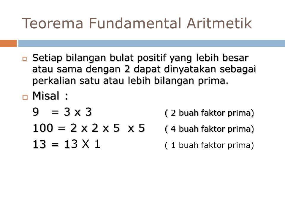 Teorema Fundamental Aritmetik  Setiap bilangan bulat positif yang lebih besar atau sama dengan 2 dapat dinyatakan sebagai perkalian satu atau lebih bilangan prima.