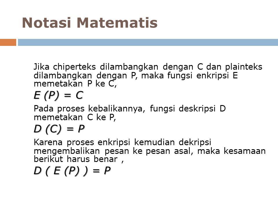 Notasi Matematis Jika chiperteks dilambangkan dengan C dan plainteks dilambangkan dengan P, maka fungsi enkripsi E memetakan P ke C, E (P) = C Pada proses kebalikannya, fungsi deskripsi D memetakan C ke P, D (C) = P Karena proses enkripsi kemudian dekripsi mengembalikan pesan ke pesan asal, maka kesamaan berikut harus benar, D ( E (P) ) = P