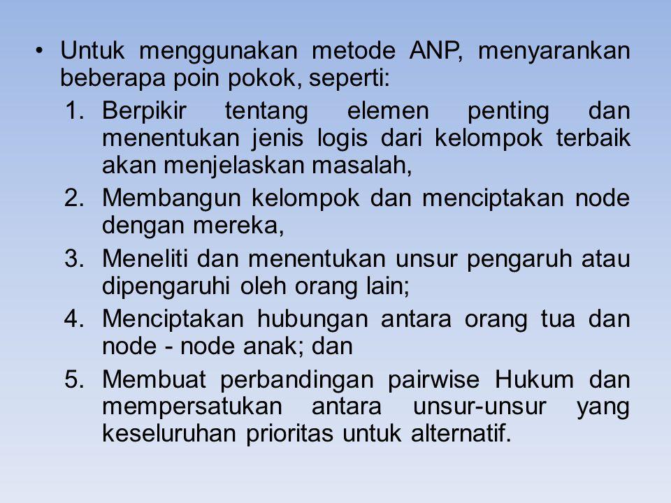 Untuk menggunakan metode ANP, menyarankan beberapa poin pokok, seperti: 1.Berpikir tentang elemen penting dan menentukan jenis logis dari kelompok ter