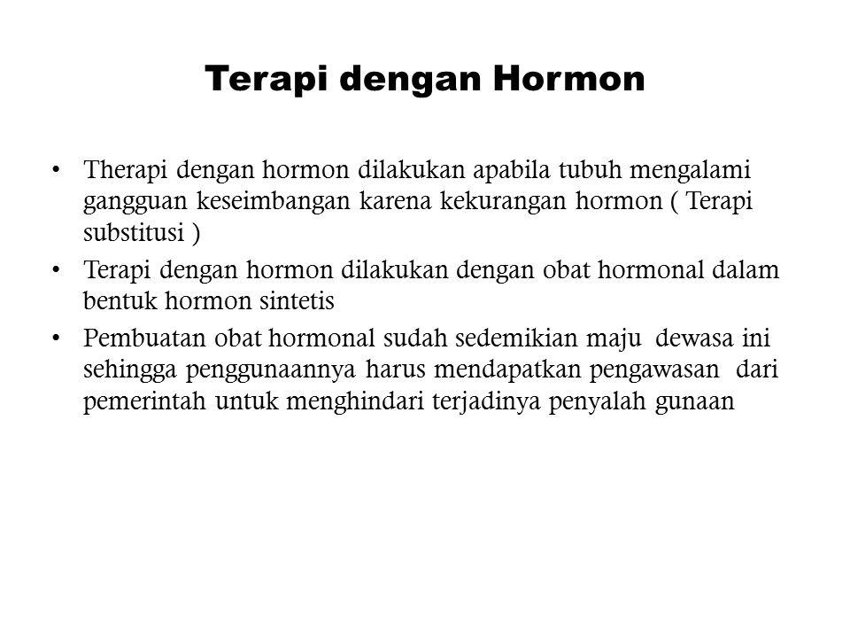 Terapi dengan Hormon Therapi dengan hormon dilakukan apabila tubuh mengalami gangguan keseimbangan karena kekurangan hormon ( Terapi substitusi ) Tera