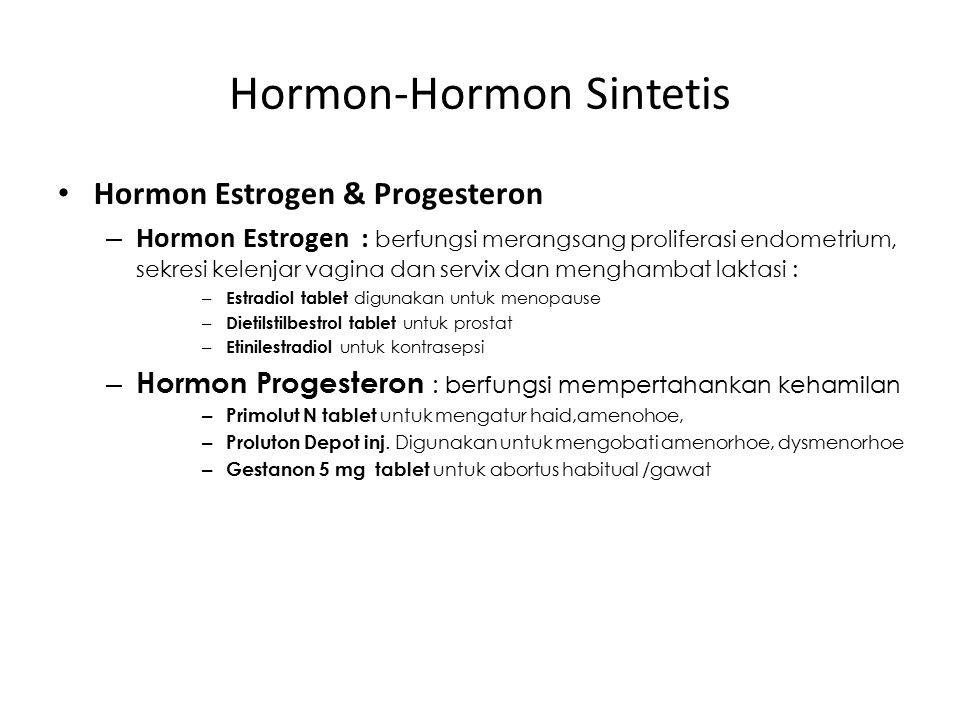 Hormon-Hormon Sintetis Hormon Estrogen & Progesteron – Hormon Estrogen : berfungsi merangsang proliferasi endometrium, sekresi kelenjar vagina dan ser