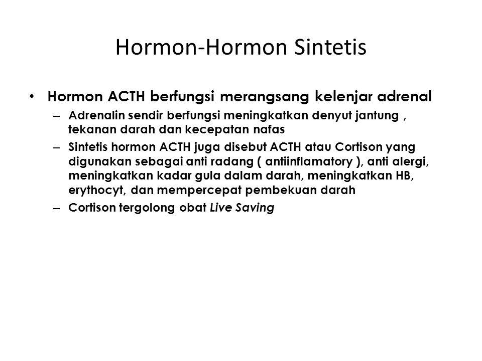 Hormon-Hormon Sintetis Hormon ACTH berfungsi merangsang kelenjar adrenal – Adrenalin sendir berfungsi meningkatkan denyut jantung, tekanan darah dan k
