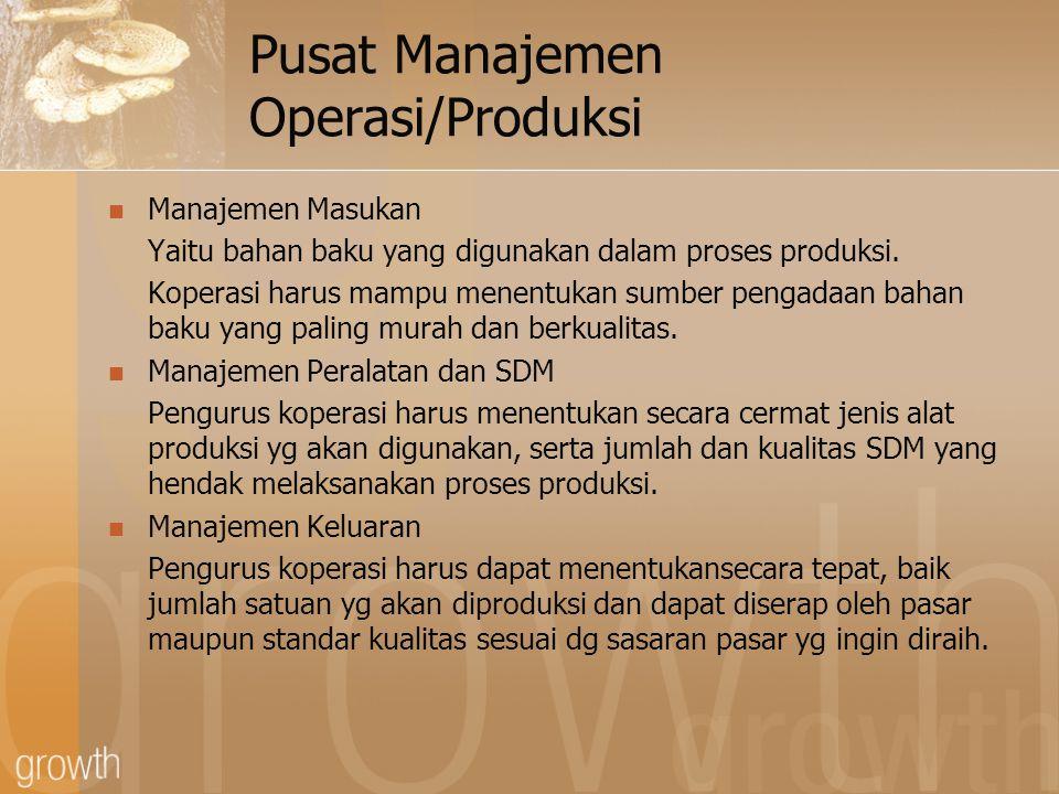 Pusat Manajemen Operasi/Produksi Manajemen Masukan Yaitu bahan baku yang digunakan dalam proses produksi. Koperasi harus mampu menentukan sumber penga