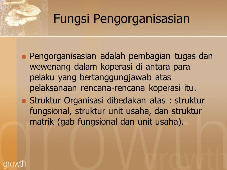 Fungsi Pengorganisasian Dua hal penting yang perlu dipertimbangkan berkaitan dengan struktur organisasi : 1.