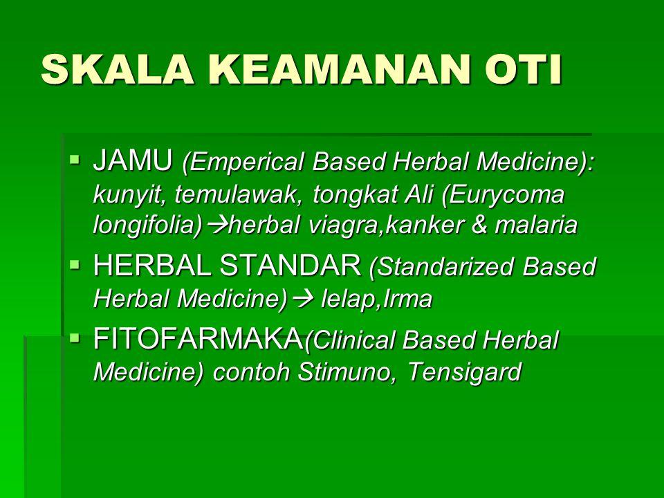 SKALA KEAMANAN OTI  JAMU (Emperical Based Herbal Medicine): kunyit, temulawak, tongkat Ali (Eurycoma longifolia)  herbal viagra,kanker & malaria  H