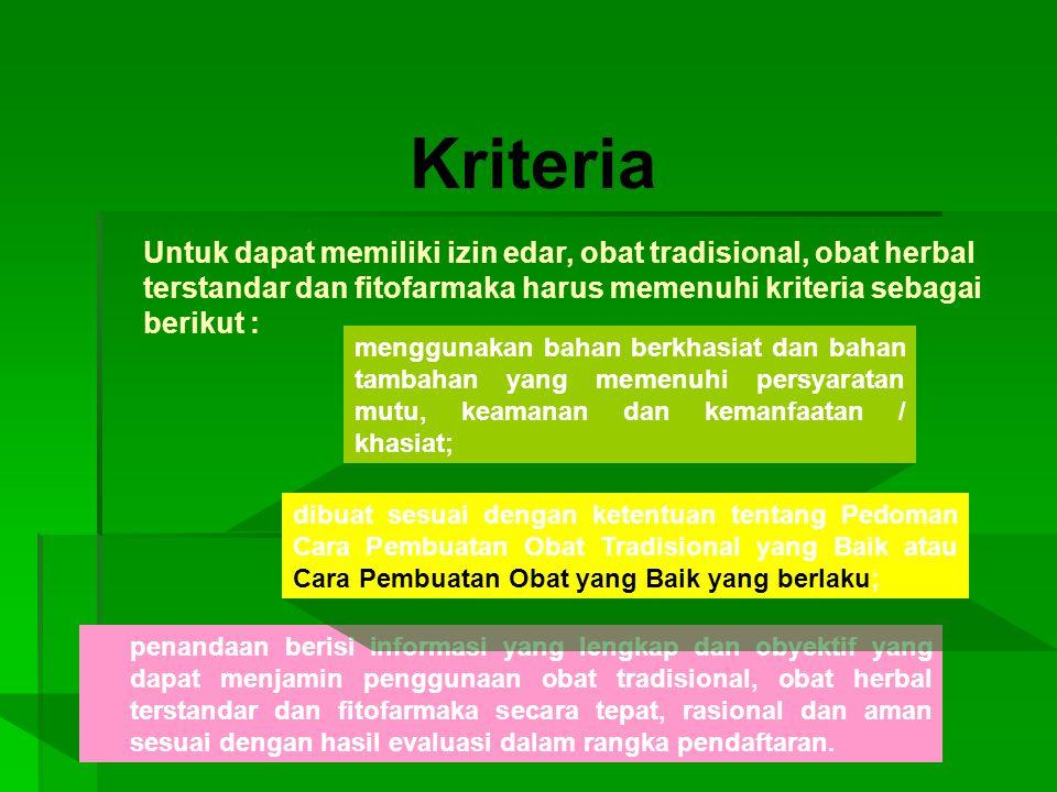 Kriteria penandaan berisi informasi yang lengkap dan obyektif yang dapat menjamin penggunaan obat tradisional, obat herbal terstandar dan fitofarmaka