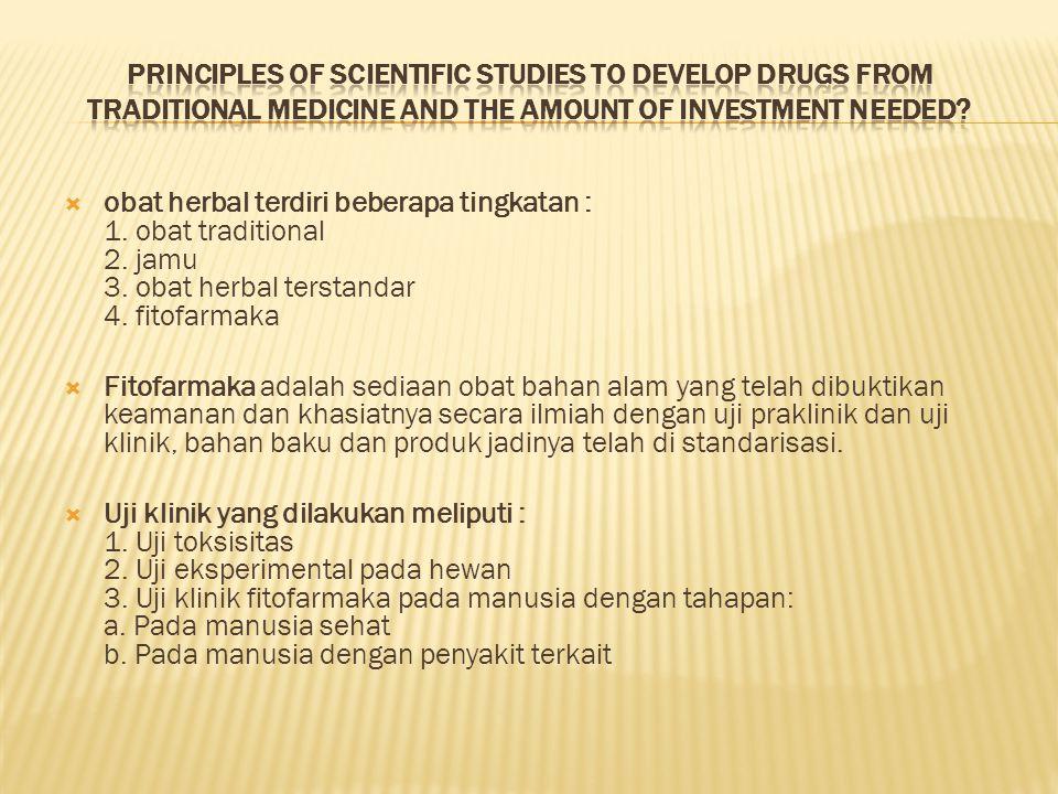  obat herbal terdiri beberapa tingkatan : 1. obat traditional 2. jamu 3. obat herbal terstandar 4. fitofarmaka  Fitofarmaka adalah sediaan obat baha