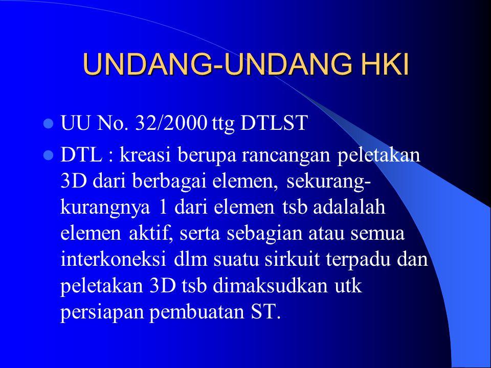 UU No. 32/2000 ttg DTLST DTL : kreasi berupa rancangan peletakan 3D dari berbagai elemen, sekurang- kurangnya 1 dari elemen tsb adalalah elemen aktif,
