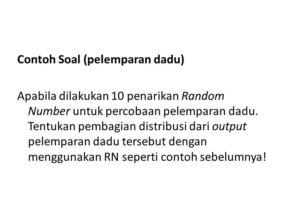Contoh Soal (pelemparan dadu) Apabila dilakukan 10 penarikan Random Number untuk percobaan pelemparan dadu. Tentukan pembagian distribusi dari output