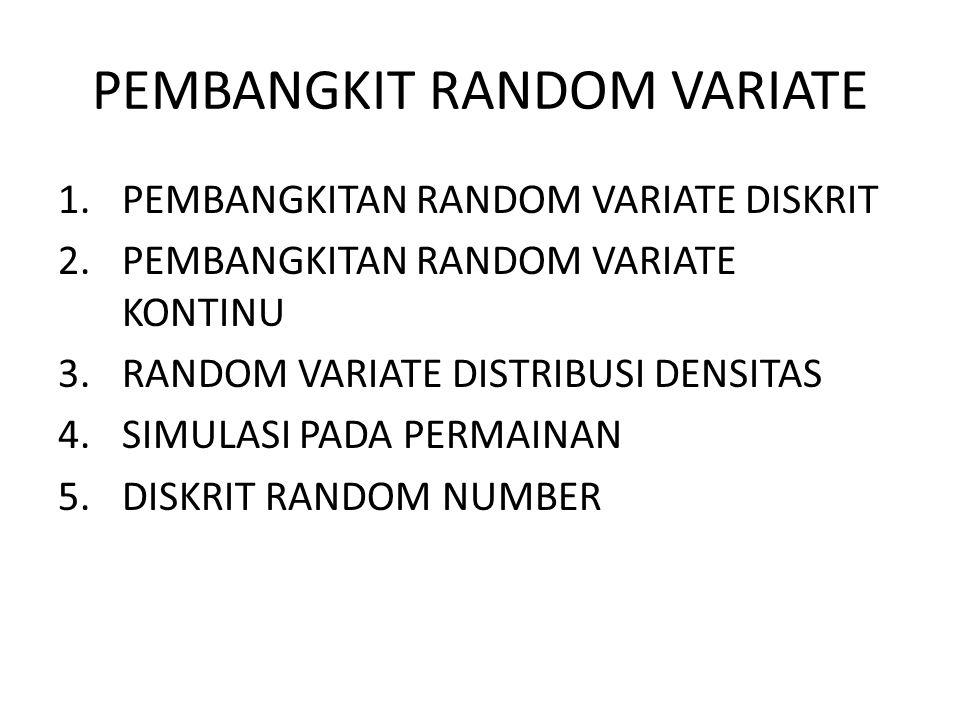 1.PEMBANGKITAN RANDOM VARIATE DISKRIT 2.PEMBANGKITAN RANDOM VARIATE KONTINU 3.RANDOM VARIATE DISTRIBUSI DENSITAS 4.SIMULASI PADA PERMAINAN 5.DISKRIT R