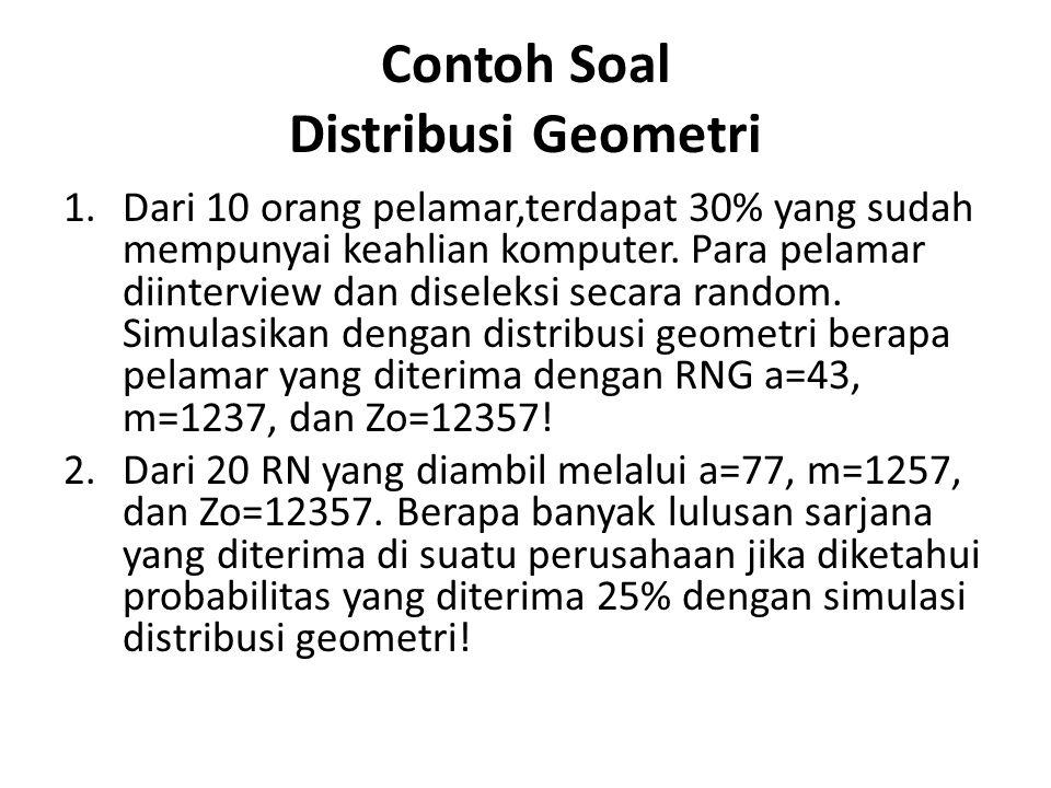Contoh Soal Distribusi Geometri 1.Dari 10 orang pelamar,terdapat 30% yang sudah mempunyai keahlian komputer. Para pelamar diinterview dan diseleksi se