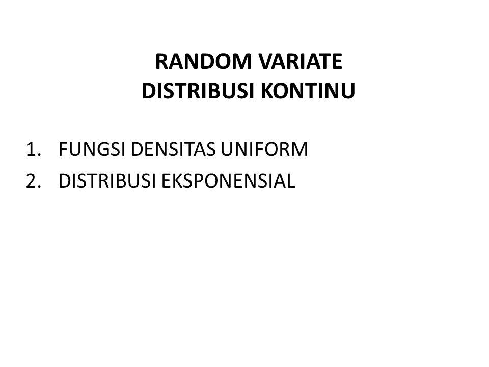 RANDOM VARIATE DISTRIBUSI KONTINU 1.FUNGSI DENSITAS UNIFORM 2.DISTRIBUSI EKSPONENSIAL
