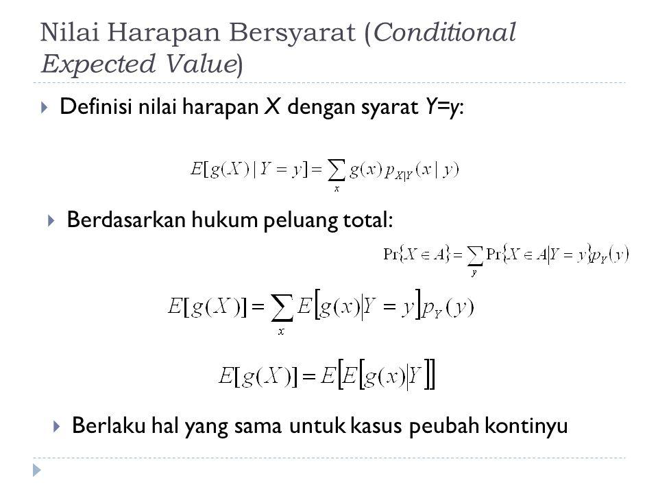 Nilai Harapan Bersyarat ( Conditional Expected Value )  Definisi nilai harapan X dengan syarat Y=y:  Berdasarkan hukum peluang total:  Berlaku hal yang sama untuk kasus peubah kontinyu