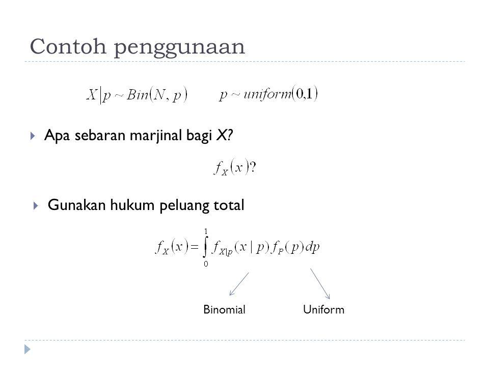 Contoh penggunaan  Apa sebaran marjinal bagi X?  Gunakan hukum peluang total BinomialUniform
