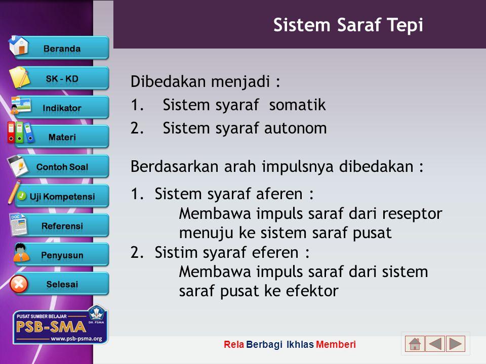 Rela Berbagi Ikhlas Memberi Sistem Saraf Tepi Dibedakan menjadi : 1.Sistem syaraf somatik 2.Sistem syaraf autonom Berdasarkan arah impulsnya dibedakan : 1.