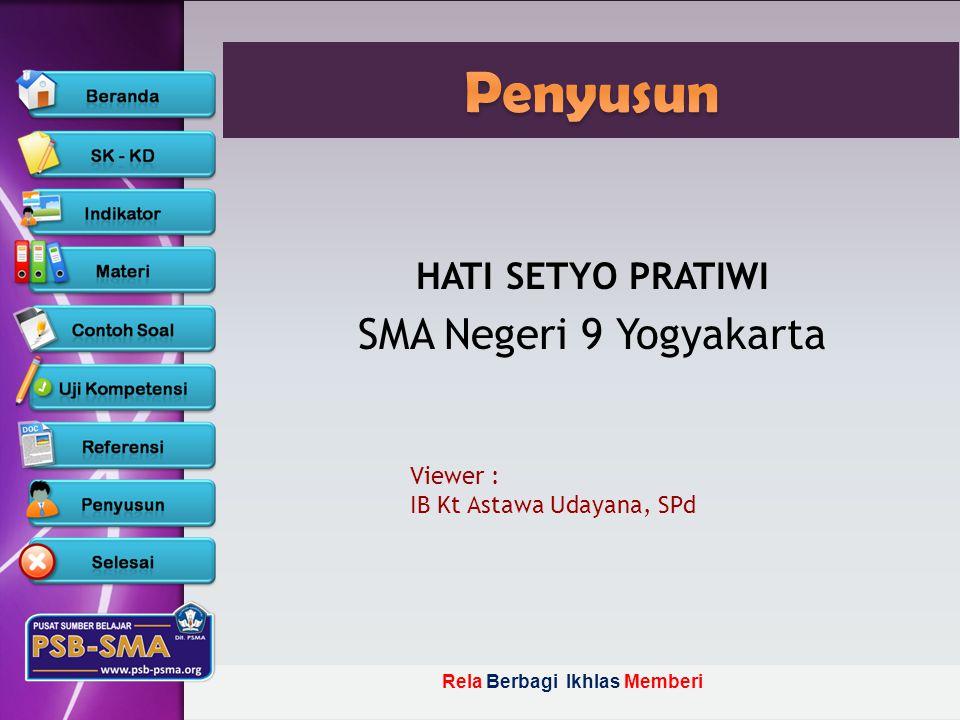 Rela Berbagi Ikhlas Memberi HATI SETYO PRATIWI SMA Negeri 9 Yogyakarta Viewer : IB Kt Astawa Udayana, SPd