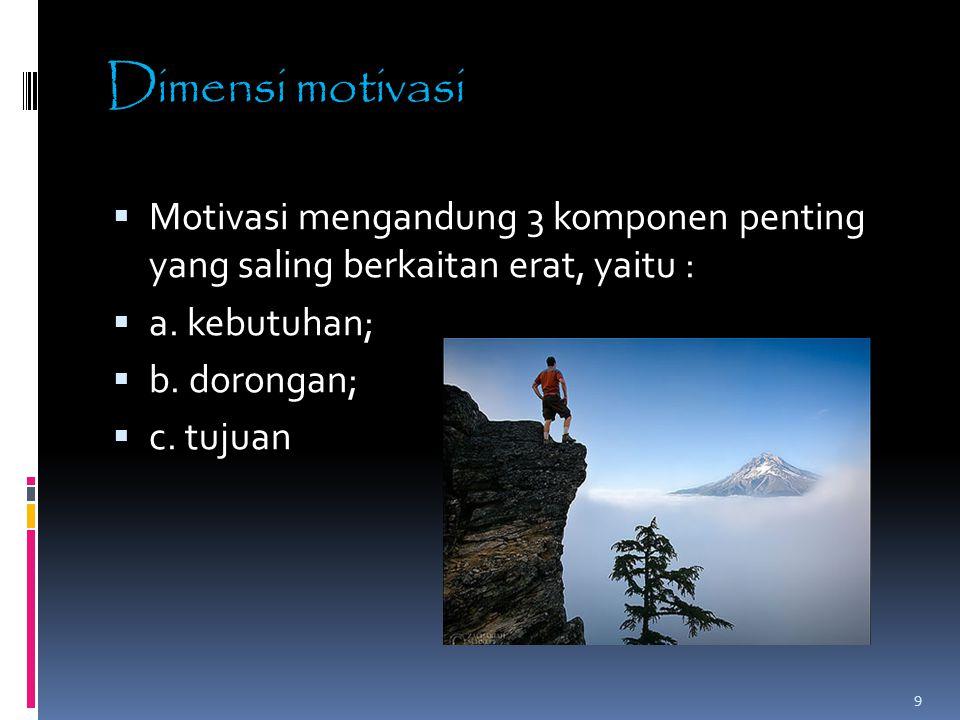 Dimensi motivasi  Motivasi mengandung 3 komponen penting yang saling berkaitan erat, yaitu :  a. kebutuhan;  b. dorongan;  c. tujuan 9