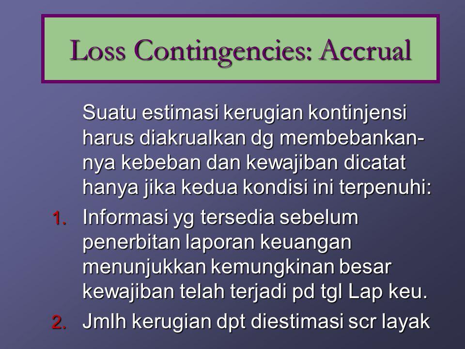 Situasi yg melibatkan ketidakpastian atas kemungkinan terjadinya kerugian. Kewajiban kontinjen adalah kewajiban yg bergantung pd terjadinya atau tdk t