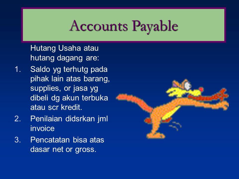 Hutang Usaha atau hutang dagang are: 1.Saldo yg terhutg pada pihak lain atas barang, supplies, or jasa yg dibeli dg akun terbuka atau scr kredit.