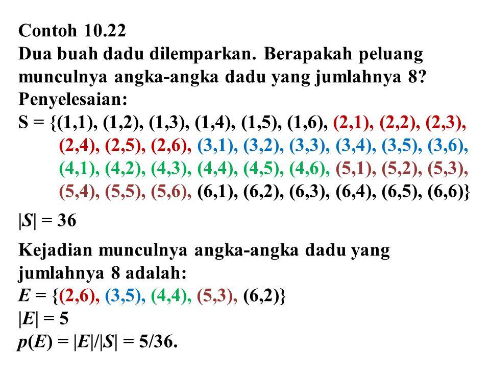 Contoh 10.22 Dua buah dadu dilemparkan. Berapakah peluang munculnya angka-angka dadu yang jumlahnya 8? Penyelesaian: S = {(1,1), (1,2), (1,3), (1,4),