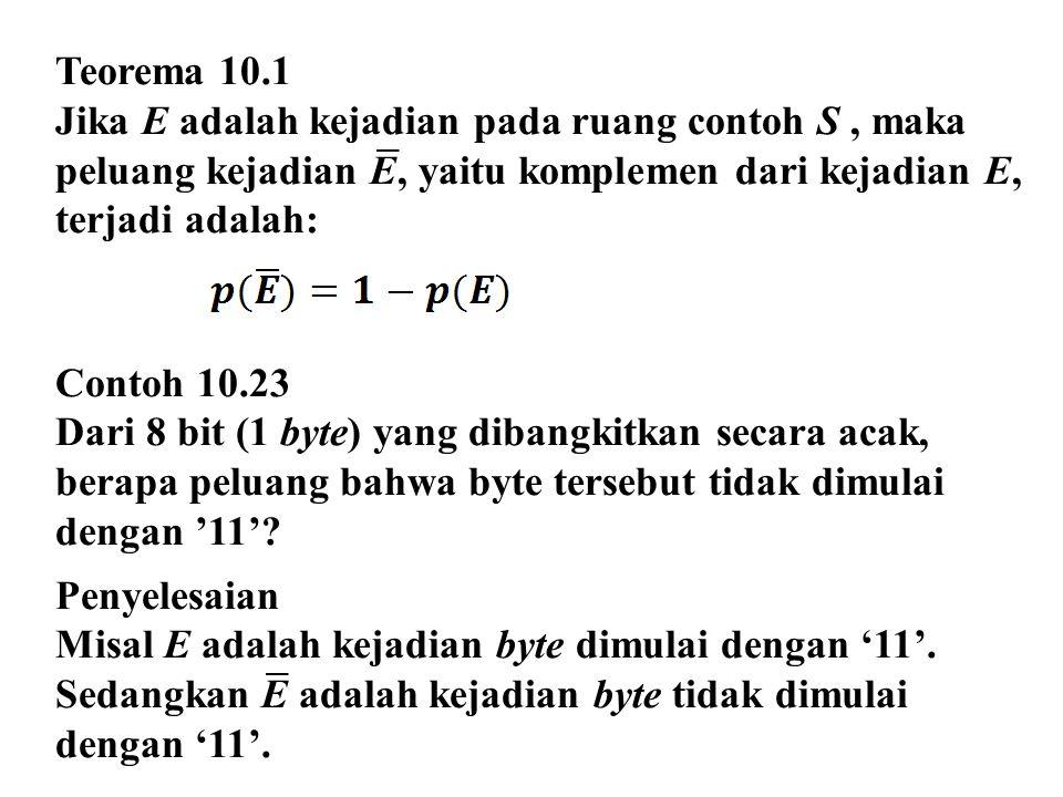 Teorema 10.1 Jika E adalah kejadian pada ruang contoh S, maka peluang kejadian E, yaitu komplemen dari kejadian E, terjadi adalah: Contoh 10.23 Dari 8