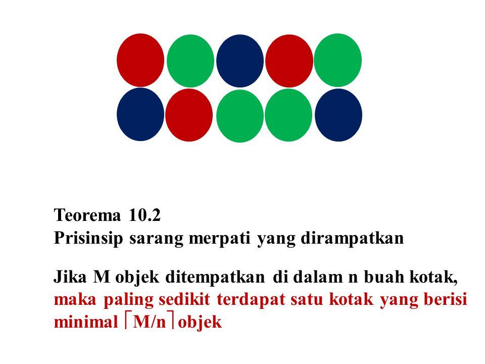 Teorema 10.2 Prisinsip sarang merpati yang dirampatkan Jika M objek ditempatkan di dalam n buah kotak, maka paling sedikit terdapat satu kotak yang be