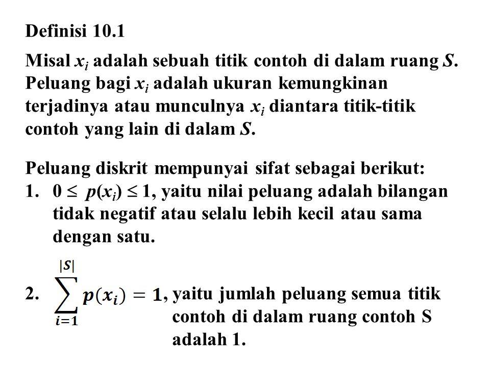 Definisi 10.1 Misal x i adalah sebuah titik contoh di dalam ruang S. Peluang bagi x i adalah ukuran kemungkinan terjadinya atau munculnya x i diantara