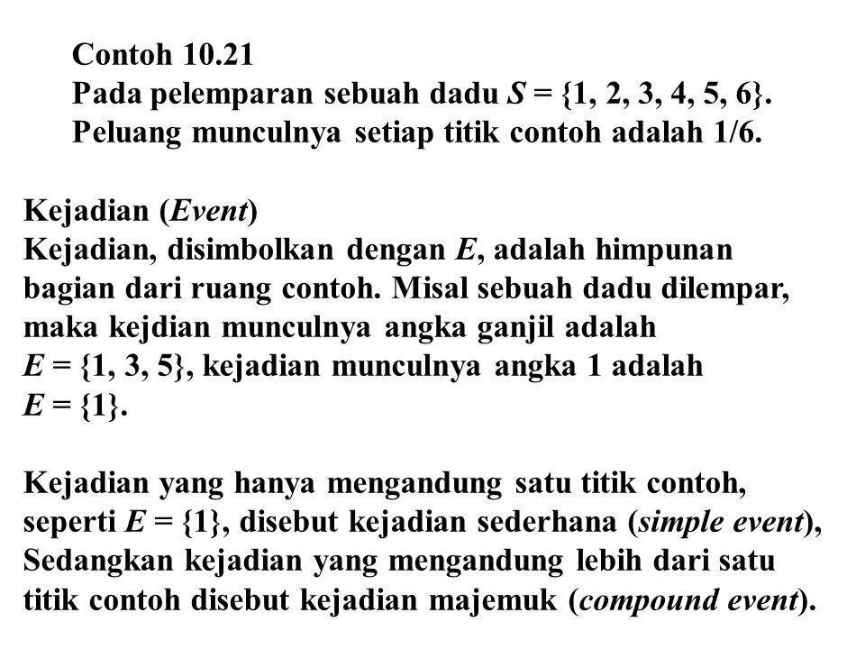 Contoh 10.21 Pada pelemparan sebuah dadu S = {1, 2, 3, 4, 5, 6}. Peluang munculnya setiap titik contoh adalah 1/6. Kejadian (Event) Kejadian, disimbol