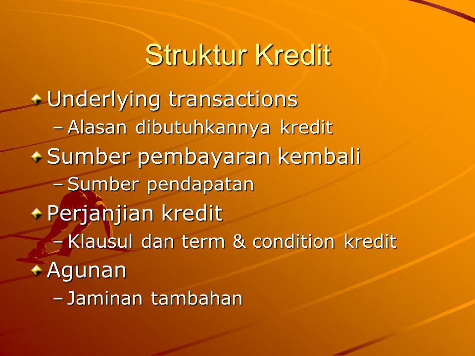Struktur Kredit Underlying transactions –Alasan dibutuhkannya kredit Sumber pembayaran kembali –Sumber pendapatan Perjanjian kredit –Klausul dan term & condition kredit Agunan –Jaminan tambahan