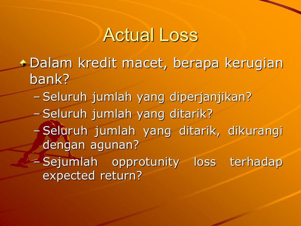 Actual Loss Dalam kredit macet, berapa kerugian bank? –Seluruh jumlah yang diperjanjikan? –Seluruh jumlah yang ditarik? –Seluruh jumlah yang ditarik,