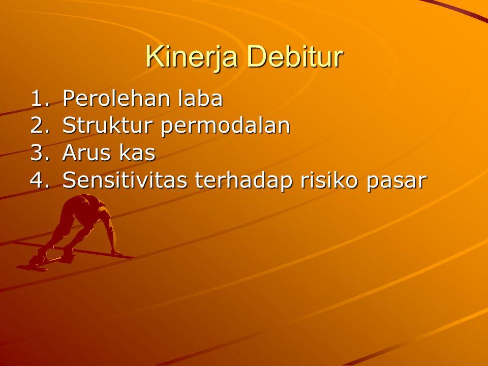 Kinerja Debitur 1.Perolehan laba 2.Struktur permodalan 3.Arus kas 4.Sensitivitas terhadap risiko pasar